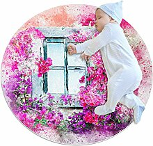 Runder Teppich, Kunst, abstrakte Fenster, Blumen,