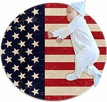 Runder Teppich mit amerikanischer USA-Flagge, für
