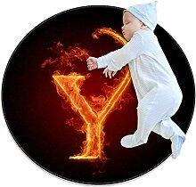 Runder Teppich mit Feuerbuchstaben Y, für