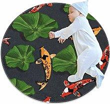 Runder Teppich mit Fisch-Koi-Lotus-Muster, für