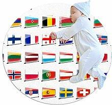 Runder Teppich mit Flagge von Europa, für