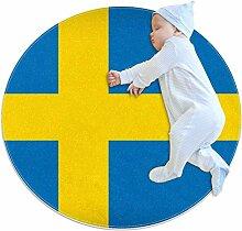 Runder Teppich mit Flagge von Schweden, für