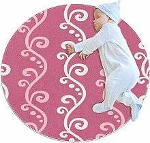 Runder Teppich mit floralem Muster, Rosa