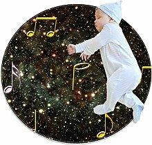 Runder Teppich mit Galaxie-Musiknoten, für