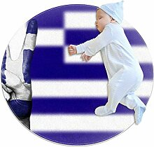 Runder Teppich mit Griechenland-Flagge, für