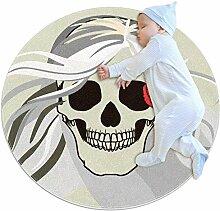 Runder Teppich mit Horror-Totenkopf-Motiv, für