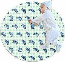 Runder Teppich mit Kaninchen-Motiv.
