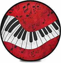 Runder Teppich mit Klaviernoten, Musiknoten, für