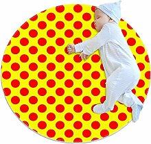Runder Teppich mit Punkten in leuchtendem Ro
