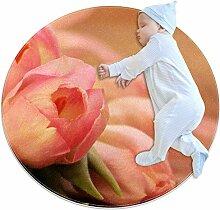 Runder Teppich mit rosa Blumen und Tulpen, für