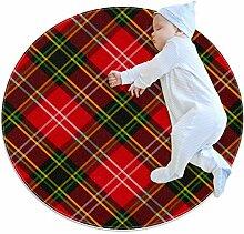 Runder Teppich mit rotem Schottenkaro, für