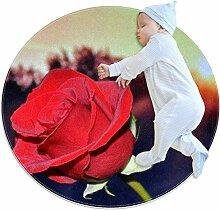 Runder Teppich mit roten Rosen und