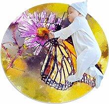 Runder Teppich mit Schmetterlings- und