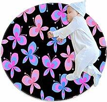 Runder Teppich mit Schmetterlingsmotiv, mehrfarbig