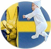 Runder Teppich mit Schweden-Flagge, für