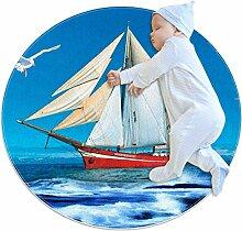 Runder Teppich mit Segelboot, Möwe, Meerblauer