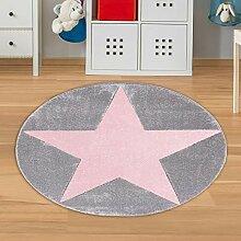 Runder Teppich mit Stern Grau Rosa Größe 133 cm,
