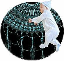 Runder Teppich mit Traumfänger-Motiv, Blau