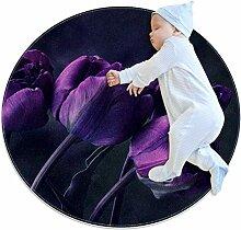 Runder Teppich mit Tulpenmotiv, 70,1 cm, Viole
