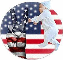 Runder Teppich mit USA-Flagge, für Kinderzimmer,