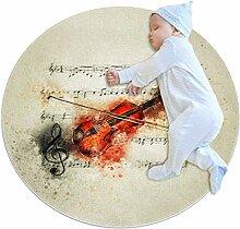Runder Teppich mit Violinen-Noten, für