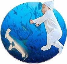 Runder Teppich mit Wal-Motiv, für Kinderzimmer,