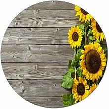 Runder Teppich, Sonnenblumen, Retro, alte Scheune,
