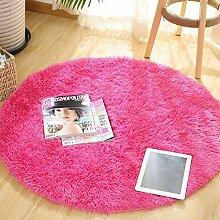 Runder Teppich-weiche Bequeme Einfache Matten-Schlafzimmer-Studien-Schreibtisch-Osmanen ( Color : Pink , Size : Diameter 80cm )