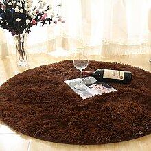 Runder Teppich-weiche Bequeme Einfache Matten-Schlafzimmer-Studien-Schreibtisch-Osmanen ( Color : Coffee , Size : Diameter 100cm )