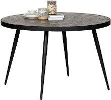 Runder Tisch aus Teak Recyclingholz Eisen