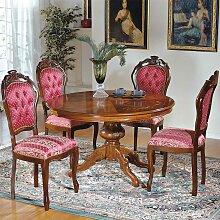 Runder Tisch und 4 Stühle im Barock Design Rot und Nussbaum (5-teilig)