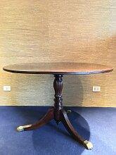 Runder Vintage Holz Esstisch mit Messing