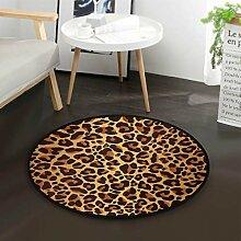 Runder Vintage Teppich mit Leopardenmuster für