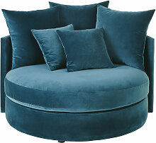 Rundes 1/2-Sitzer-Sofa mit Samtbezug, petrolblau