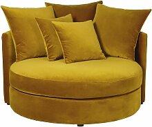 Rundes 1/2-Sitzer-Sofa mit Samtbezug, senfgelb