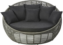 Rundes 3-Sitzer-Gartensofa aus grauem