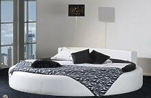Rundes Bett CALIFORNIA in Ø 220 cm - komfortables Designerbett, schwarzes Spaltleder (echt Leder), inkl. Matratze