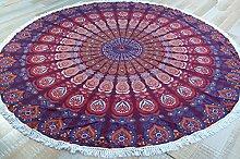 Rundes indisches Mandala Tuch, Tagesdecke, Picknickdecke, Stranddecke, Tischdecke / Mandala Tagesdecken und Wandtücher