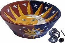 rundes Keramik Aufsatz-Waschbecken, Motiv: Sonne &