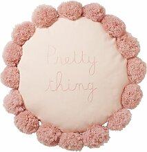 Rundes Kissen mit Pompons, rosa bestickt D40
