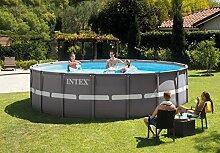Rundes Schwimmbecken für Draußen Intex Ultra Frame 28332, 549x 132cm, mit Sandpumpe 54926