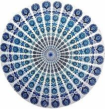 Rundes Strandtuch mit indischem Mandala, auch als Überwurf, Wanddekoration, Tischdecke oder Yoga-Matte verwendbar, im Hippie-Stil, aus Baumwolle
