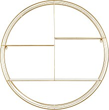 Rundes Wandregal aus goldfarbenem Metall