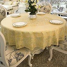 Rundtischdecken/Wasser und Öl Beweis Einweg-Tischdecke/PVCTischdecken/ European-Style Tischdecken/Vergoldet Kunststoff Runde Tischdecke-E Durchmesser180cm(71inch)