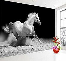 Running Horse Schwarz-Weiß-Tier-Tapete Für