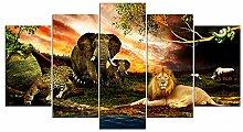 runtooer Bild auf Leinwand - Löwe Elefant Gepard