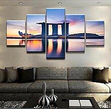 runtooer Bilder Modern Gebäude Singapur 5 TLG.