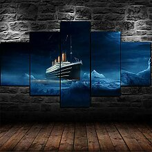 runtooer Bilder Titanic Ice Burg Schiff 5 TLG.