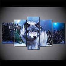 runtooer Bilder Wolf Sternennacht 5 TLG.