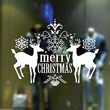 RUOXI Frohe Weihnachten Deer Window Showcase Vinyl